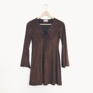 Altar'd State | Brown Faux Suede Lace Up Dress